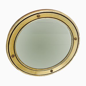 Vintage Italian Wood and Gilded Brass Wall Mirror, 1970s