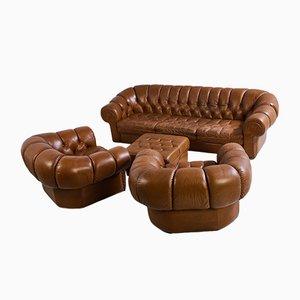Juego de sofá Chesterfield de cuero, años 70