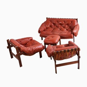 Senator Sofa Set in Kognakbraun, 1970er