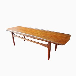 Danish Sleigh Style Teak Coffee Table by Finn Juhl for France & Søn, 1950s