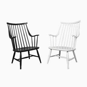 Black and White Armchairs by Lena Larsson for Nesto, 1960s, Set of 2