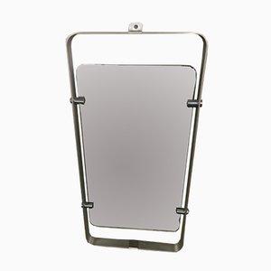 Espejo italiano con marco de acero inoxidable, años 70
