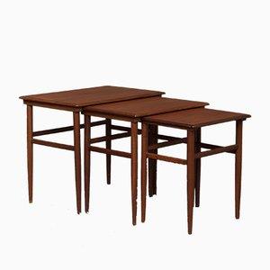 Tavolini a incastro in teak, anni '60, set di 3