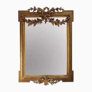Louis XVI Trumeau Mirror with Gilt Stucco Frame and Beveled Glass