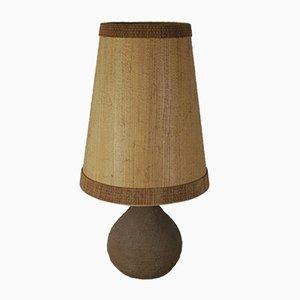 German Ceramic Table Lamp in Coarse Manganton with Veneer Lampshade by Löffler & Zange for Krösselbach