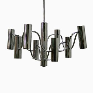 Mid-Century Chrome Chandelier by Gaetano Sciolari for Boulanger, 1970s
