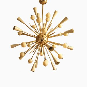 Beige Murano Glass and Brass Sputnik Chandelier, 1980s