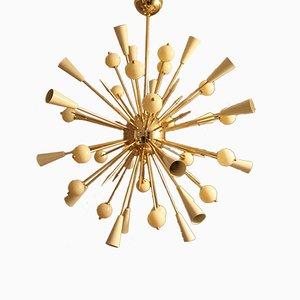 Lámpara de araña Sputnik de cristal de Murano beige y latón, años 80