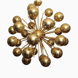 Sputnik Brass & Golden Murano Glass Chandelier, 1980s
