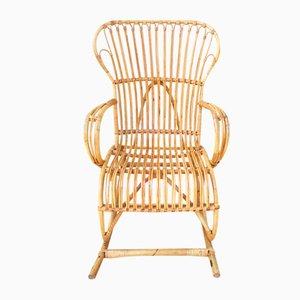 Rocking Chair en Rotin, 1960s