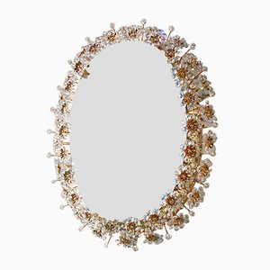 Oval Backlit Mirror with Crystal Flowers from Palwa, 1960s