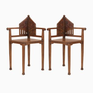 Oak Dutch Arts & Crafts Corner Chairs, 1900s
