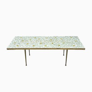 Swiss Mosaic Table with Brass Trim, 1950s