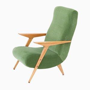 Italian Mid-Century Oak & Green Velvet Armchair, 1950s