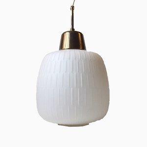 Lampada a sospensione in vetro zigrinato e ottone, anni '50