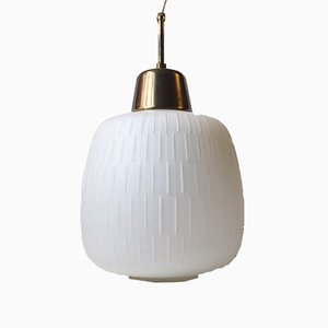 Reeded Glass & Brass Pendant Lamp, 1950s