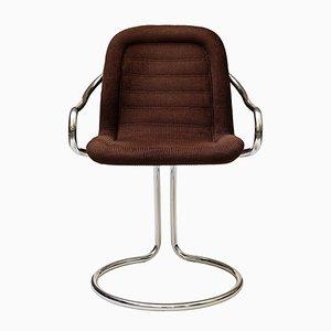 Röhrenförmiger Vintage Beistellstuhl mit Bezug aus Kord, 1970er