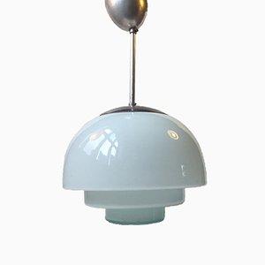 Lampada da soffitto vintage in vetro blu chiaro, Scandinavia