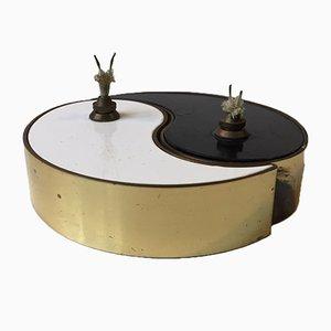 Lámpara de aceite de dos piezas Ying Yang de latón y esmalte de G.V. Harnisch Eftf, años 60