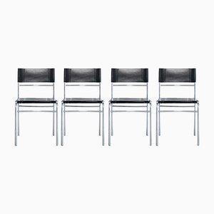 Esszimmerstühle aus Leder von Zanotta, 1990er, 4er Set