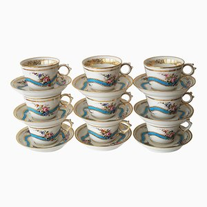 Antique Old Paris Porcelain Teacups and Saucers, Set of 9