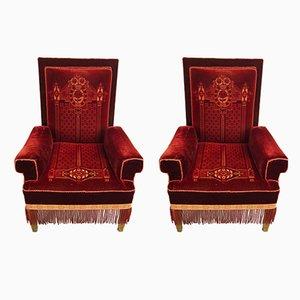 Antique Art Nouveau Armchairs, Set of 2