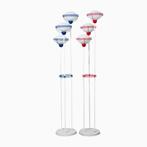 Space Age Floor Lamps in Metal and Crystal, 1960s, Set of 2