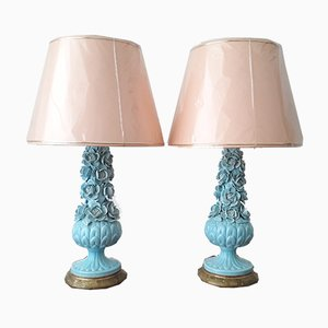 Vintage Manises Ceramic Lamps, 1960s, Set of 2