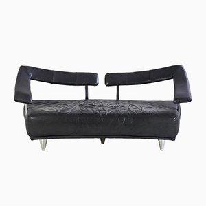 Sofá triplaza de cuero negro, años 80