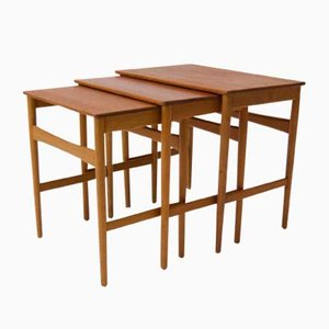 Danish At-40 Nesting Tables by Hans J. Wegner for Andreas Tuck, 1950s