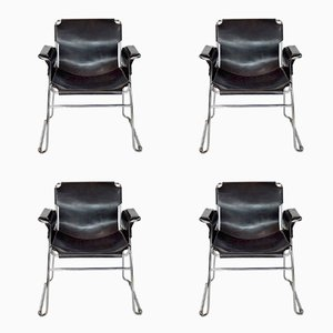 Italian Postmodern Chrome and Leather Chairs, Set of 4