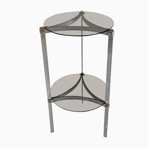 Tavolino in acciaio e vetro fumé, anni '70