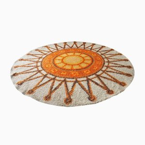 Vintage Circular Orange & Cream Sunburst Rug, 1960s