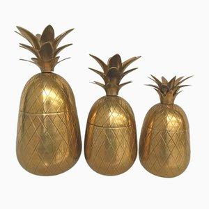 Secchielli per il ghiaccio Hollywood Regency a forma di ananas in ottone, anni '80, set di 3