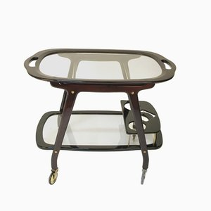 Italian Serving Trolley in Mahogany by Cesare Lacca, 1950s