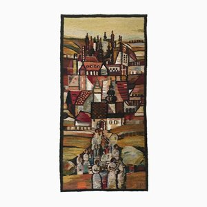 Polish Handwoven Towers Tapestry by Piotr Grabowski for Cepelia, 1982