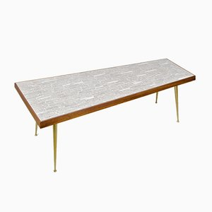 Asymmetric Mosaic Stone, Brass & Teak Coffee Table, 1950s