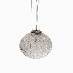 Lámpara colgante redonda de vidrio y metal cromado, años 60