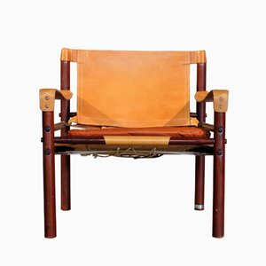 Leather Safari Chair Model Sirocco by Arne Norell, 1960s
