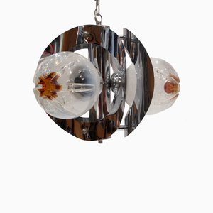 Lámpara colgante de metal cromado y cristal de Murano, años 70