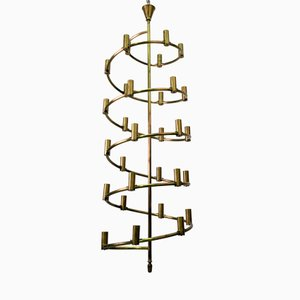 Large Swedish Brass Chandelier, 1965