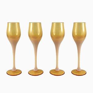 Copas de licor de Zbigniew Horbow para Sudety Glassworks, años 60. Juego de 4