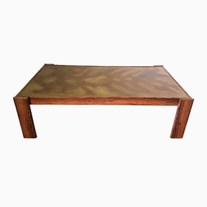 Brutalist Copper and Rosewood Coffee Table, 1960s