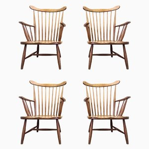 Mid-Century Spindle Back Armchairs, Set of 4