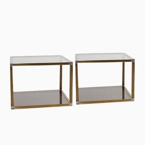 Tavolini da caffè in ottone e vetro di Romeo Rega, anni '70, set di 2
