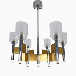 Lámpara de araña italiana de metal cromado y latón de Gaetano Sciolari, años 70