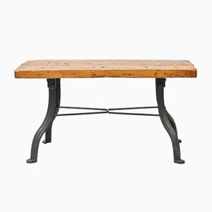Tavolo da lavoro vintage in legno e ferro battuto