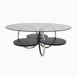Tavolino da caffè Mid-Century in acciaio tubolare e vetro, Francia, anni '50