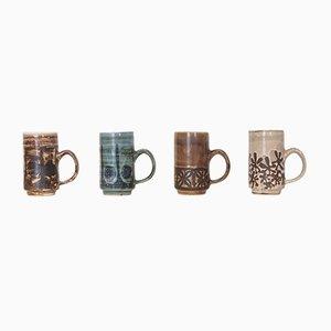Vintage Keramiktassen von David Sharp für Rye Pottery, 4er Set