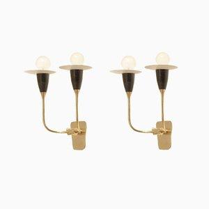 Französische Mid-Century perforierte Metall Wandlampen in schwarz und weiß, 1950er, 2er Set